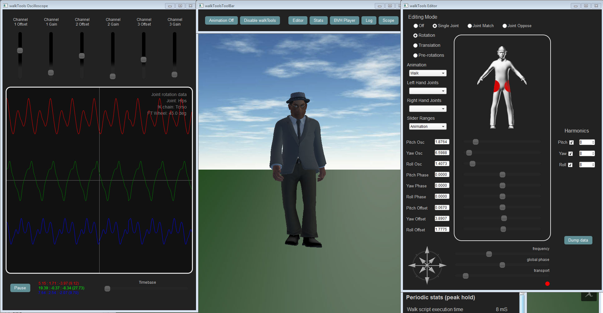 walkTools in use - editing the walk animation